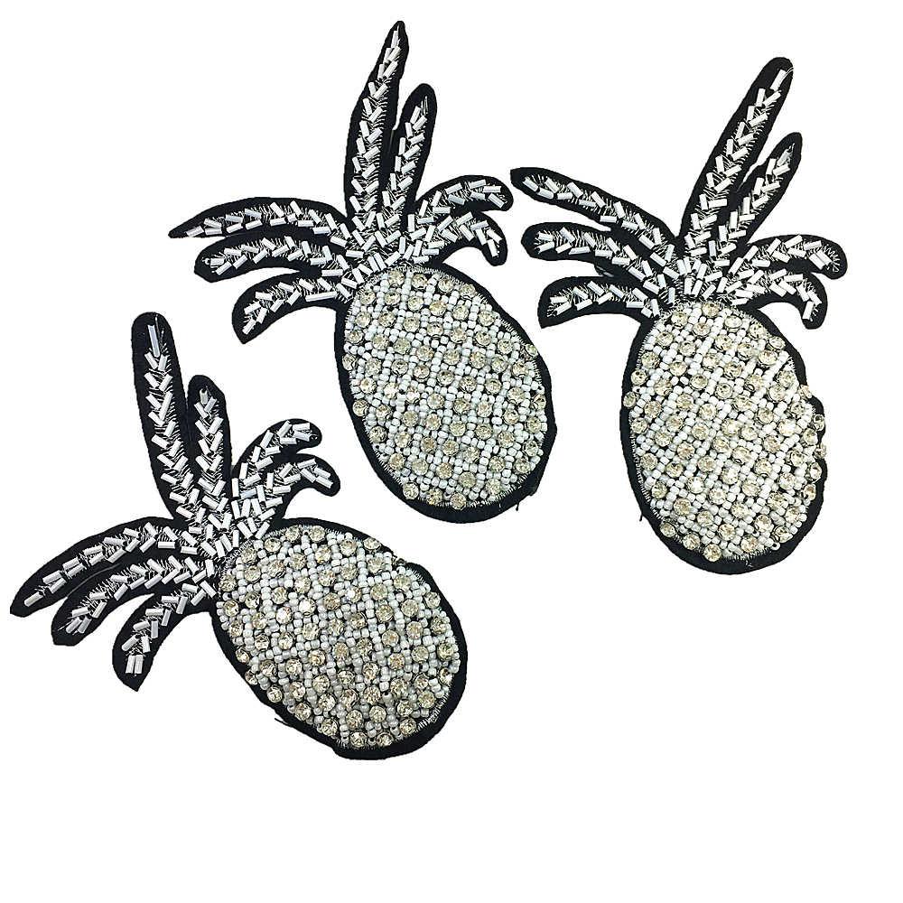 2ピース14 × 6センチ縫うオンクリスタルパイナップルパッチビーズアップリケフルーツパッチ用服バッグ靴parches diyアクセサリーAC1054