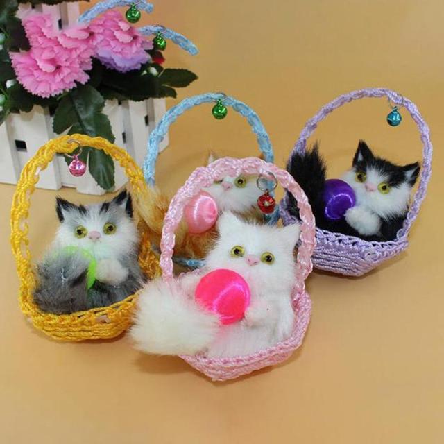 Simulation Sleeping Cats Plush Toy Cute Animal Doll Shoe Basket
