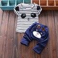 2017 Verano Azul Oscuro chicos ropa para niños muchachos del niño de los niños ropa 1-4 T Del Bebé Del Oso Camiseta Tops + Pants 2 Unids paño conjunto