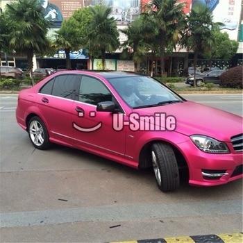 Premium Matte Metallic Pink Vinyl Wrap Roll Sticker Bubble Free Car Styling