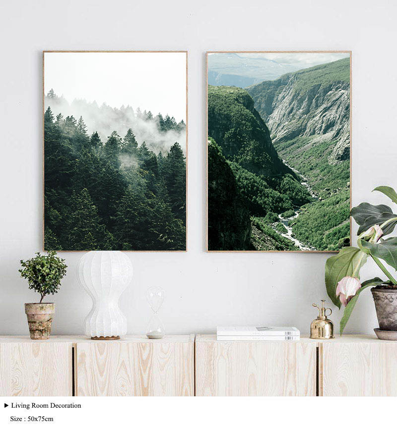 HTB1EJ3QaMFY.1VjSZFnq6AFHXXa6 Mountain Foggy Forest Picture Nature Scenery Scandinavian Poster Nordic Decoration Landscape Print Wall Art Canvas Painting