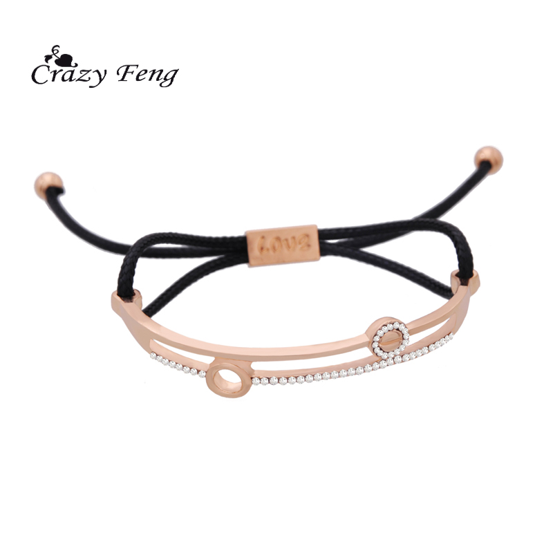 Crazy Feng Hollow Crystal Bracelets Bangles For Women Men Jewelry Size Adjustable Bohemia Rope Chain Leather