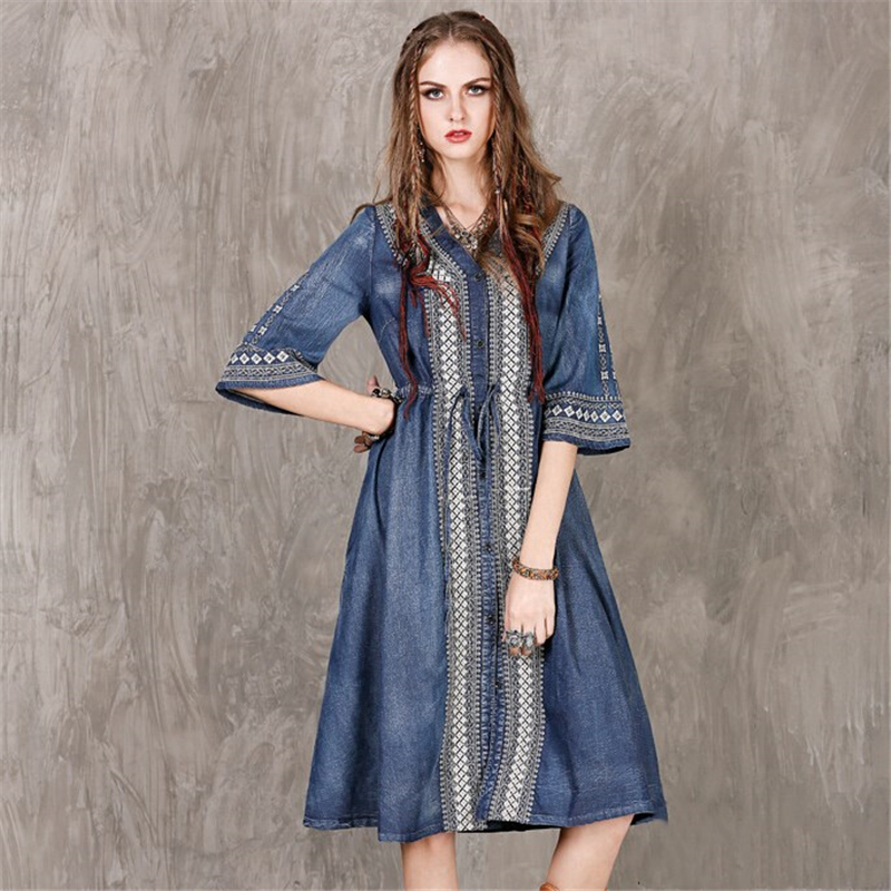 High Quality 2017 Vogue Summer Women Casual New Embroidered Denim Dress Sexy V neck Vintage boho