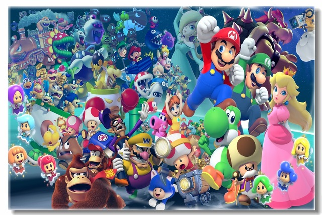 Custom Canvas Wall Murals Super Mario Party Poster Super Mario Luigi