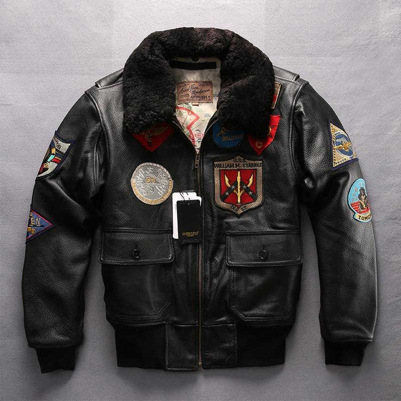 European Large Size Jacket Men Air Force G1 Pilot Warm Fur Collar Genuine Leather Jacket Autumn Winter Thick Cowhide Rider Coats