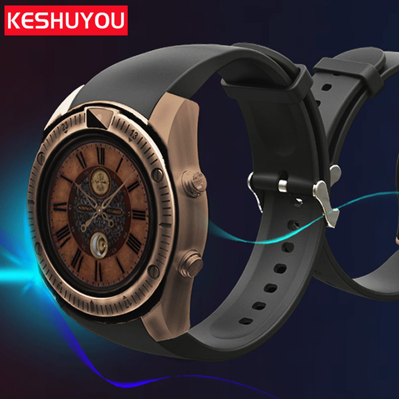 Купить с кэшбэком KESHUYOU KY03  passometer Vintage smart watchs android men camera smartwatch android wearable devices For  phone Samsung HUAWEI