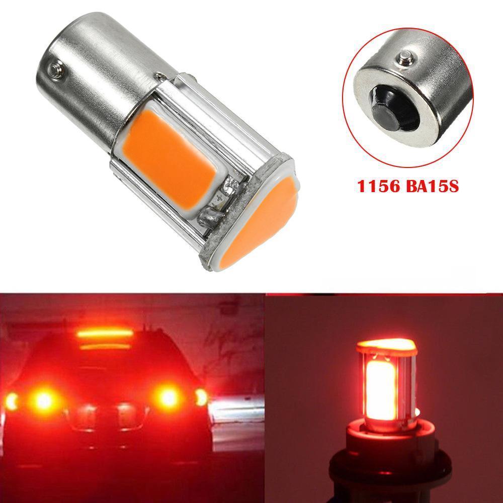 Car High Brake Lights Light Turn Signal Bulb Warning Signal Light Safety D1156 Red BA15S 4 COB LED Brake Stop Lamp Accessories