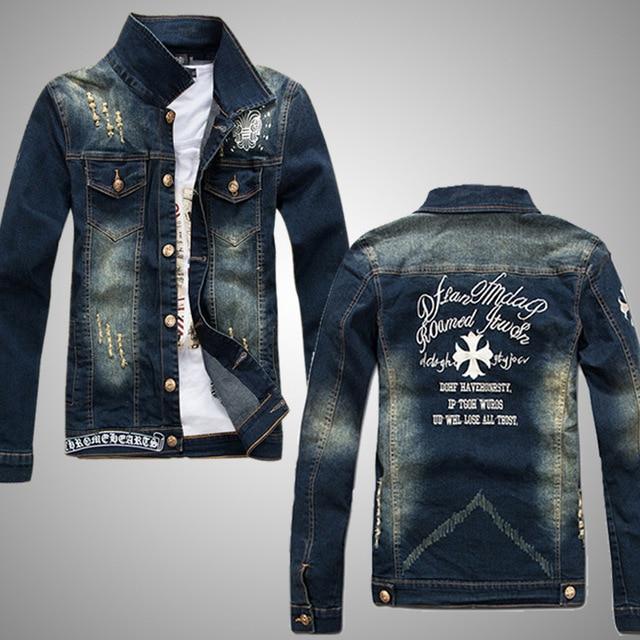 Luxury Vintage Denim Jacket Men Fashion Holes Design Mens Slim Fit