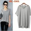 Плюс Размер XL-5XL Свободные футболка Женщины Длинные Рубашки V шеи off-плечи Женщины Топы Серый футболка Хлопок С Коротким Рукавом T6516