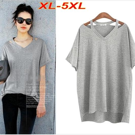 Más el Tamaño XL-5XL camiseta Floja de Las Mujeres Camisa Larga V cuello del Apagado-hombro de Las Mujeres Tops Gris camiseta de Algodón de Manga Corta T6516