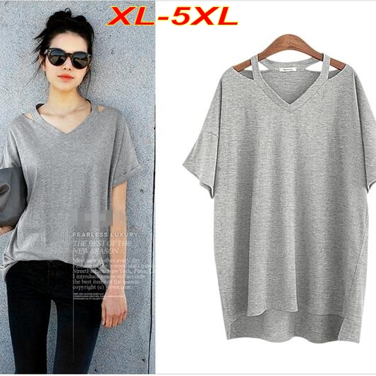 Plus Size XL-5XL Loose T shirt Women Long Shirt V neck Off-shoulder Women  Tops Gray T shirt Cotton Short Sleeve T6516 01c7fef07567