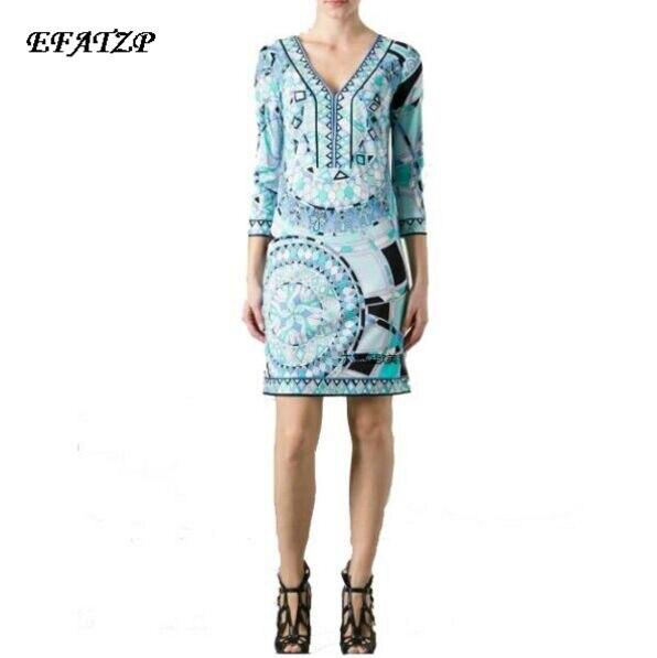 a3c55a3632 Marque italienne de luxe femmes superbe impression col en v élégant 3/4  manches Jersey soie robe mignonne grande taille XXL dans Robes de Mode Femme  et ...