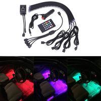 カーインテリアunderdash照明キット8色車のインテリアライトled 4ピースでサウンドアクティブ機能とリモート制御