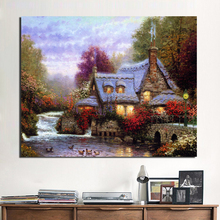 Thomas Kinkade Cottage Paintings Wall Art Canvas Painting Nordic Posters And Prints Picture Kids Room Decoration