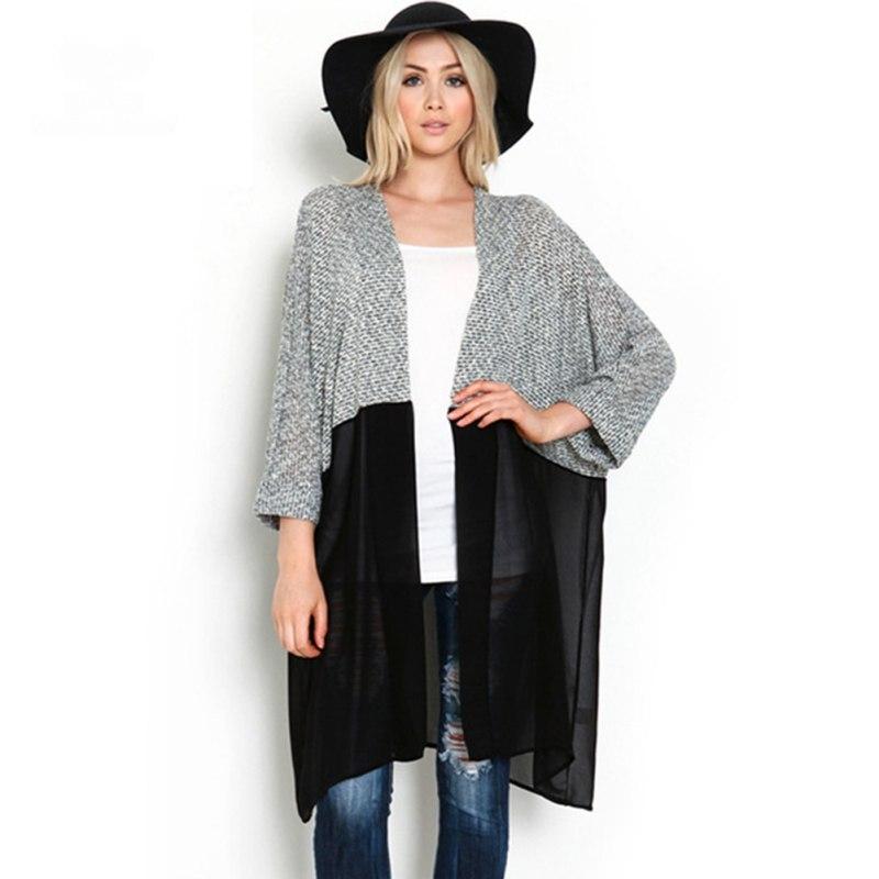 Primavera Otoño Mujeres Kimono Cardigan de Punto Blusa de La Gasa Camisa de mang