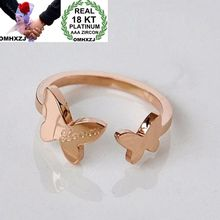 OMHXZJ Wholesale Personality Fashion Woman Girl Party Wedding Gift Rose Gold Butterfly Open 18KT Ring RN48