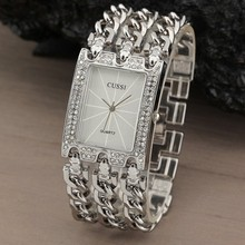 цены на WA058 Women Watch Luxury Wrist Watch Analog Quartz Watches Stainless Steel Fashion Rhinestone  Bracelet Three Chains Silver  в интернет-магазинах