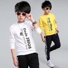 Letter Print Blouse Fashion 2-12years Boy T-Shirts Long Sleeve Causal Letter Print Cotton Shirts Kids Tops Tees Clothes