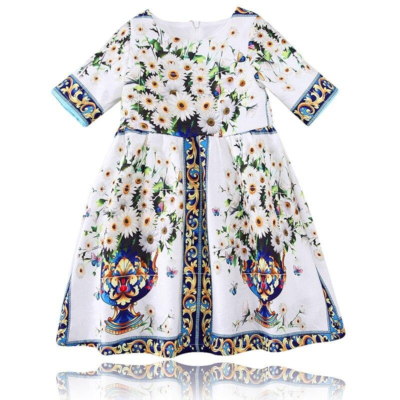 Baby Girl Clothes Children Girl Summer Fashion 2017 Robe Enfant Summer Dress Vestido Flower Print Princess Costume Child Dress