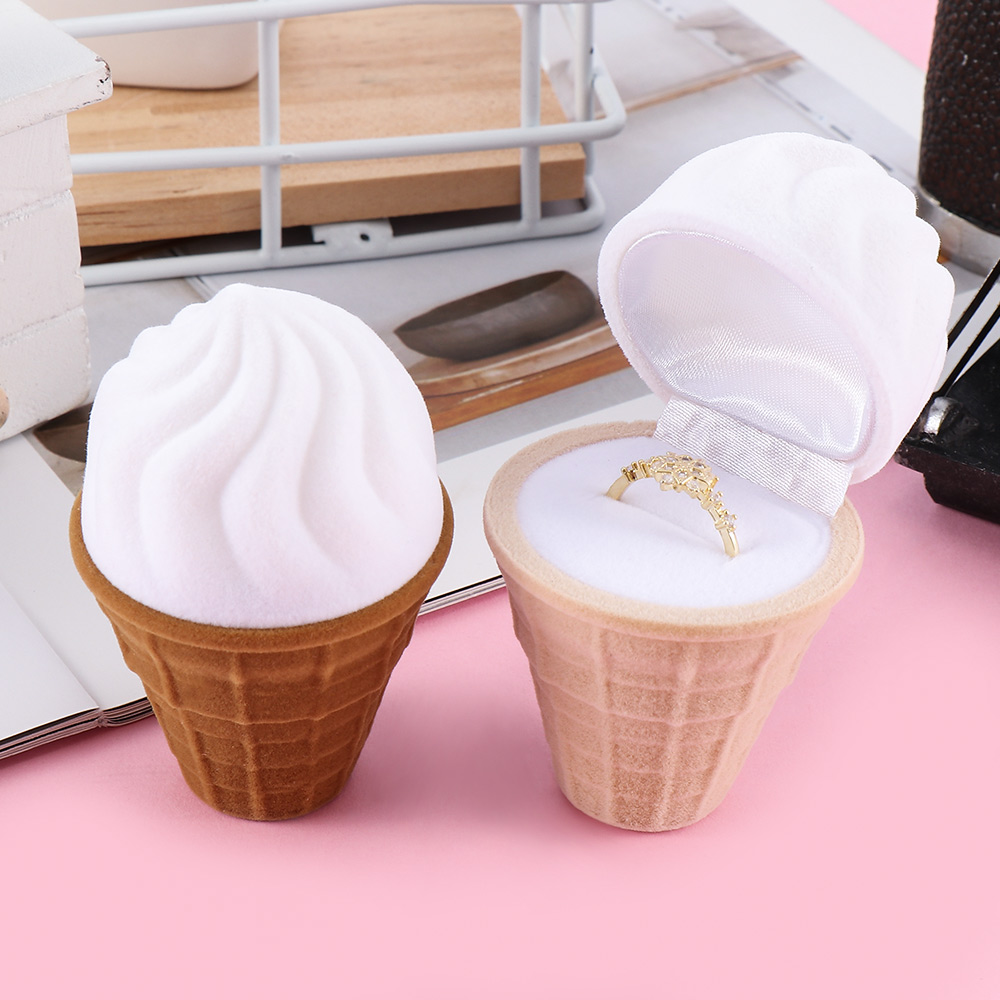 1Pc Jewelry Display Gift Box Holder Ice Cream Shape Lovely Velvet Wedding Engagement Ring Box For Earrings Necklace Bracelet
