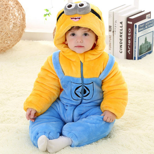754da9efd Flannel Thicken 3 Layers Baby Pikachu Minion Clothes Winter Long Sleeve  Cartoon Hooded Baby Rompers Jumpsuits for 0-3Y Toddlers
