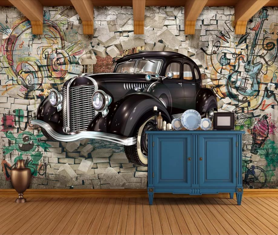Custom <font><b>3d</b></font> stereoscopic Vintage classic <font><b>car</b></font> <font><b>3d</b></font> <font><b>wallpaper</b></font> for living room photo <font><b>wallpaper</b></font> <font><b>3D</b></font> background wall murals image