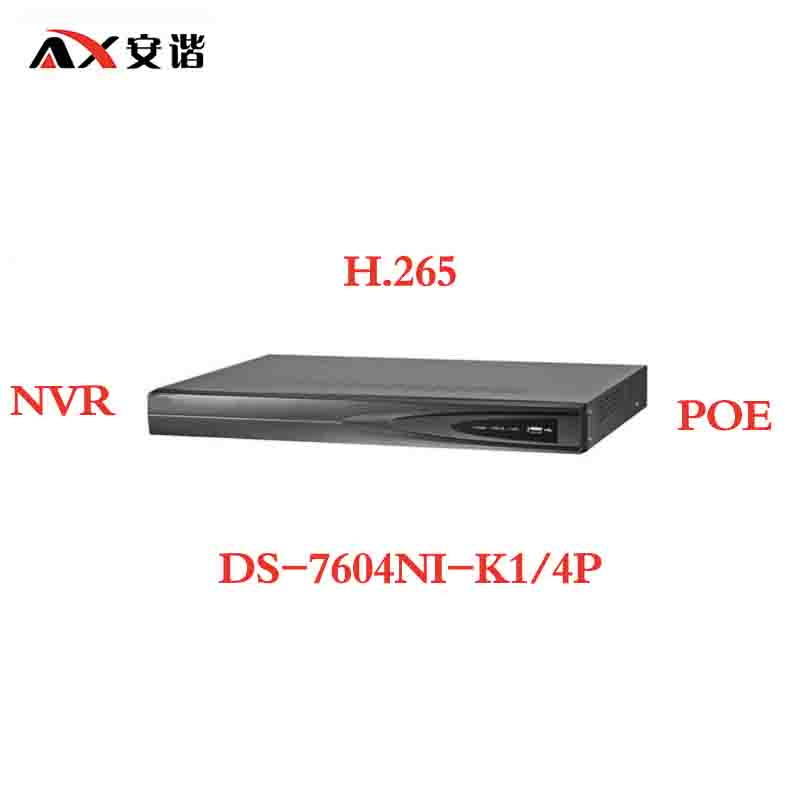 ANXIE Hikvision DS-7604NI-K1/4P  Embedded Plug & Play 4K NVR with 2 SATA Interfaces 4 POE Port