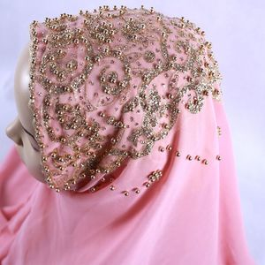 Image 5 - חדש מגיע פרימיום בועת שיפון חיג אב צעיף מוסלמי נשי זהב פרל גליטר אסלאמי טורבן בגימור Shinny צעיף 170*70cm
