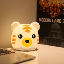Touch Control Night Light 7 Colors Changed Multicolor Cartoon Tiger Pat Soft Silicone Table Lamp Home Decor for Baby Kids