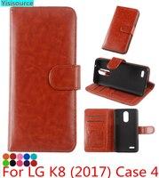 For LG K8 2017 Case Leather Wallet Original K8 2017 Crazy House Phone Case Flip Cover