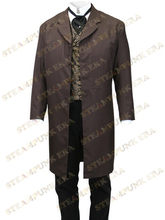 Free Shipping Dark Brown Lapel Full Length Buttons Mens Steampunk Coat