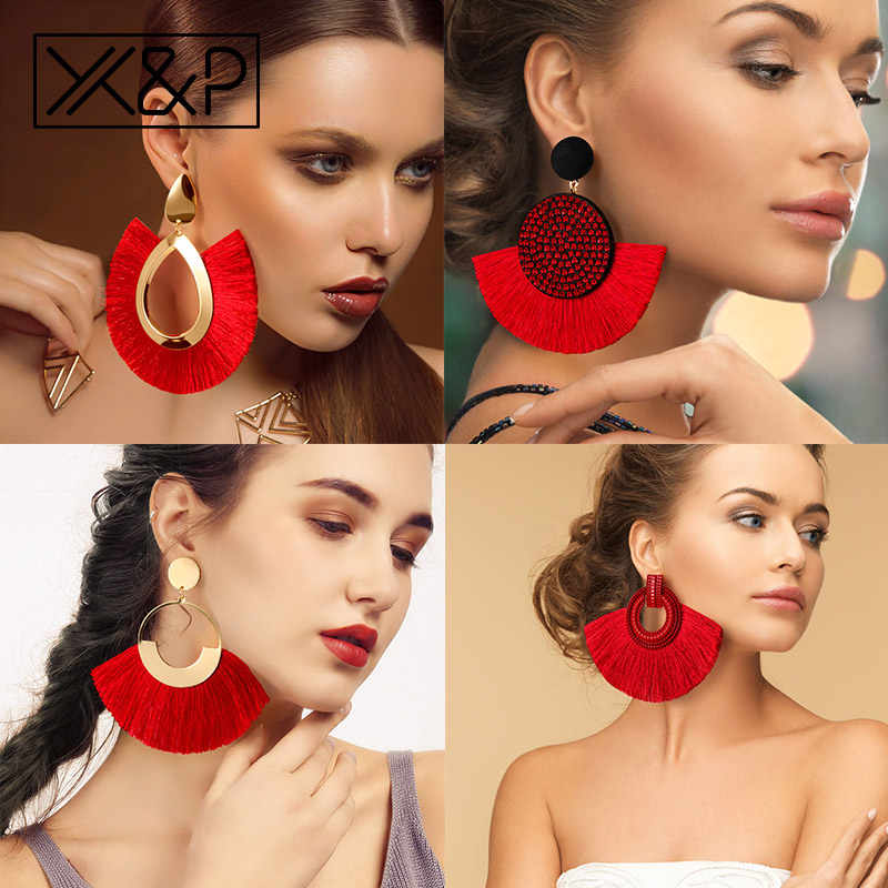 X&P Fashion Bohemian Big Tassel Earrings Statement Large Gold Handmade Brincos Drop Dangle Tassel Earring for Women Za Jewelry