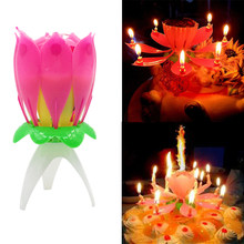 Cake Candle Musical Candle Lotus Flower Party Gift Art Happy Birthday Candle Lights Party DIY Cake Decoration Kids Candles Wax(China)