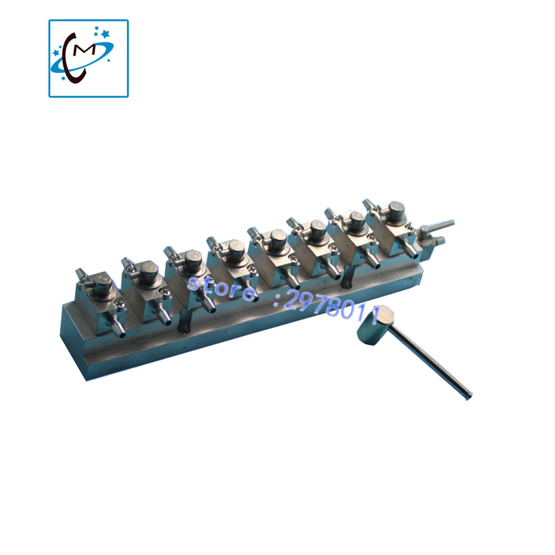 UV flatbed plotter printer printhead cleaning valves unit infiniti gongzheng Liyu large format printer  metal hand valve