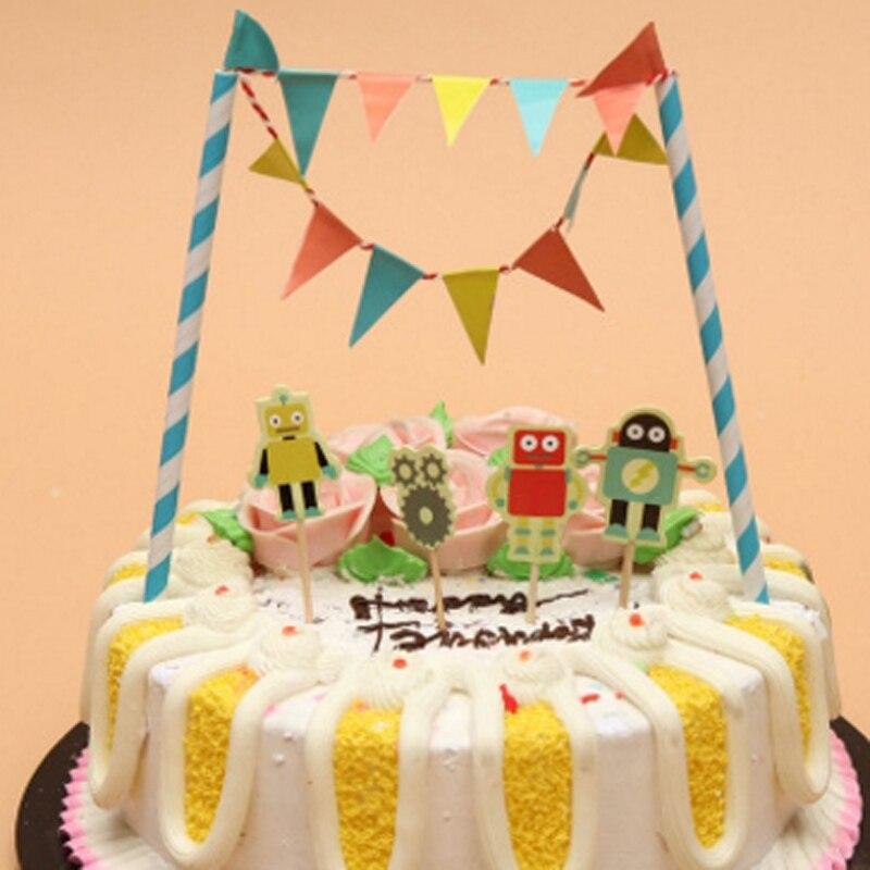 Cartoon Cake Topper Ballet/Spacecraft/Pirate/Mermaid Flag Birthday ...