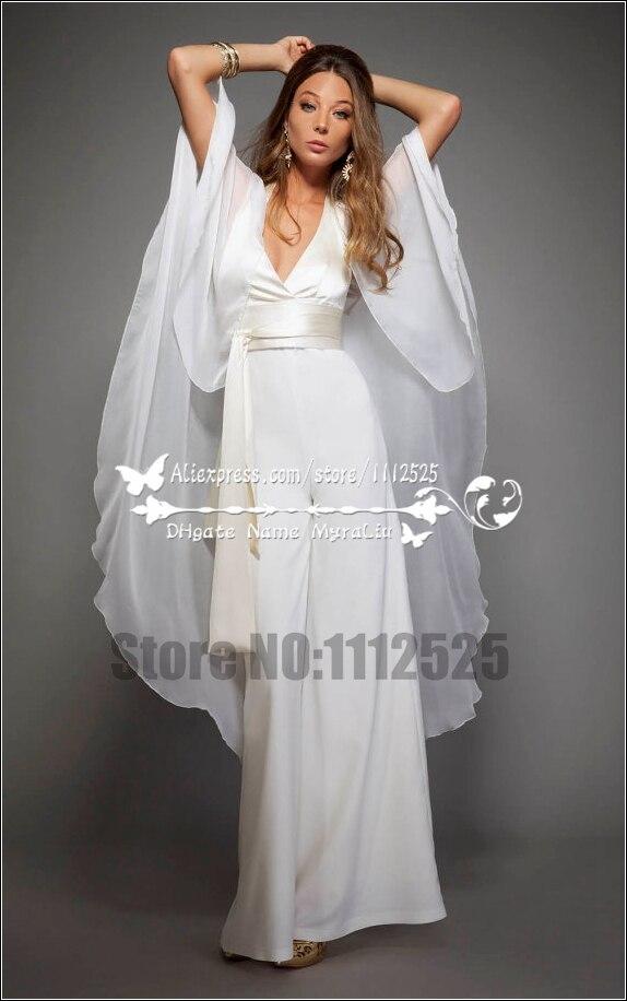 Awp 1032 Sexy Halter Deep V Neck Chiffon Pants Suit Wedding Dresses Bridal Jumpsuits With Cape