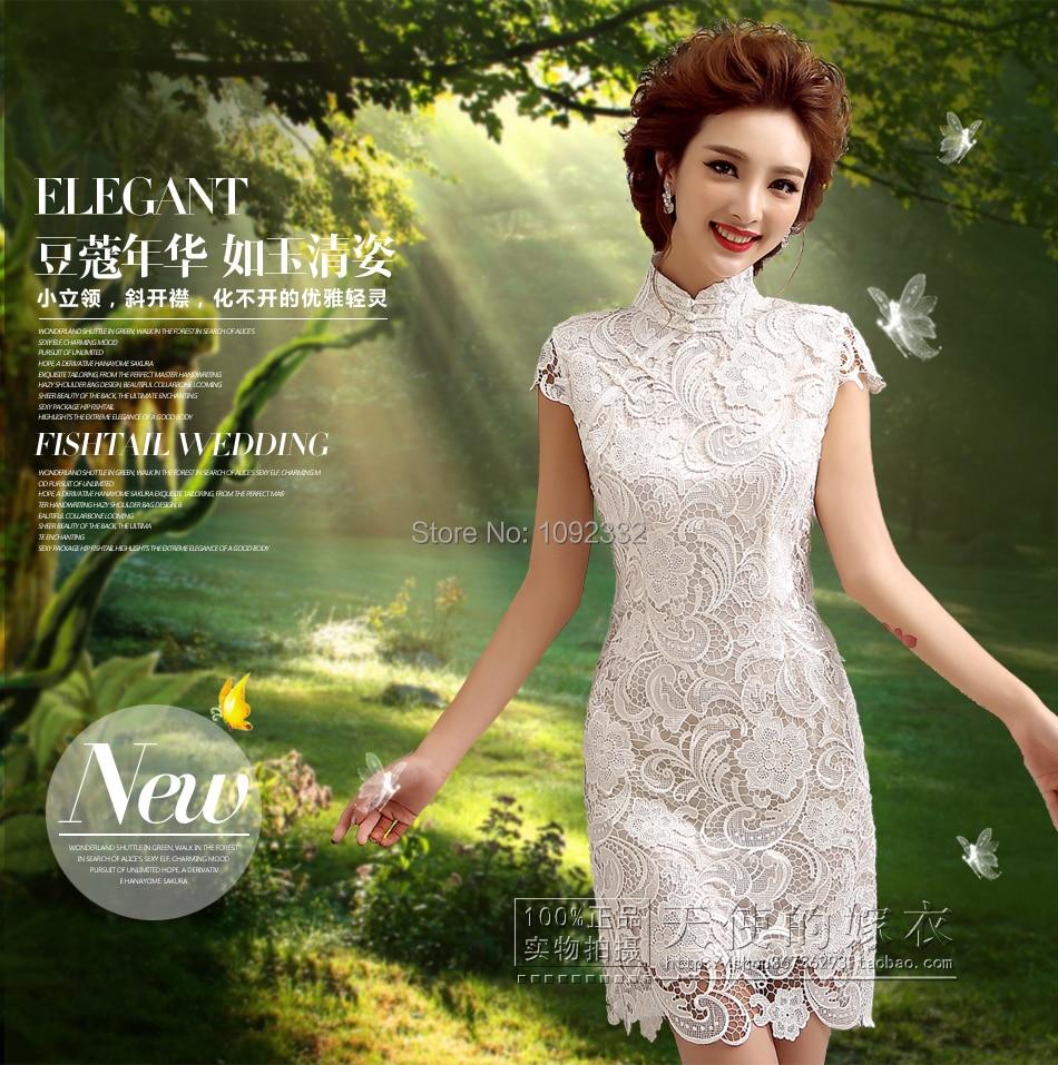 816cfb2f4 Z 2016 Nuevo stock vestido de novia más el tamaño de las mujeres de la boda  vestido corto delgado cuello alto de la vendimia de la manera atractiva  chino ...