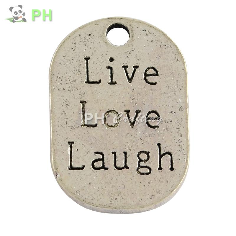 Tibetan Style Alloy Flat Oval Carved Affirmation Word Live Love Laugh Pendants, Lead Free , Antique Silver, 26x17.5x1mm, Hole: