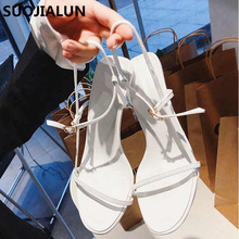 SUOJIALUN Women Sandals Summer High Heels Shoes Open Toe Casual Thin Strap Party Slip-On Dress Pumps