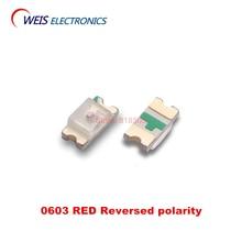 100PCS 0603 RED SMD LED Reversed polarity 620-625NM 1.6*0.8mm 200-300mcd 1.8-2.0v 20mA Free shipping