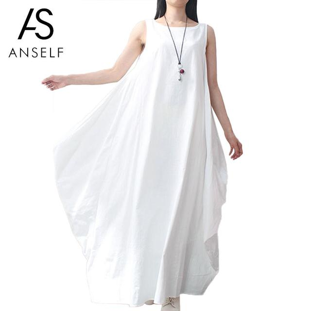 576cd02f945 Anself Women Cotton Linen Dress Sleeveless 4XL 5XL Plus Size Maxi Long  Dress Pockets Solid Loose