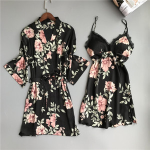 Image 2 - Two Piece Womens Pajamas Silk Dress And Robe Gown Set Floral Bathrobe Lingerie Femme Sexy Nightdress Kimono Sleepwear Home Suit