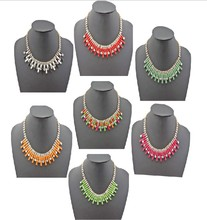 7 Colors New Fashion Charming Rhinestone Chain Oblong Resin Gem Choker Necklace For Women charming geometric colored artificial gem rhinestone fake collar necklace and earrings for women