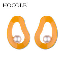 HOCOLE 2018 New Personality Irregular Round Simulated Pearl Earrings Big Stud Earring For Women Party Jewelry Accessories Gifts