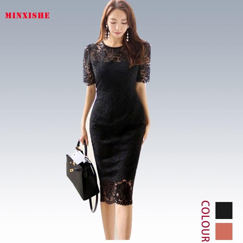 Été nouveau femmes robe 2019 Sexy moulante élégante dentelle Midi décontracté Bandage partie nuit style coréen Wrap Club noir rose robe
