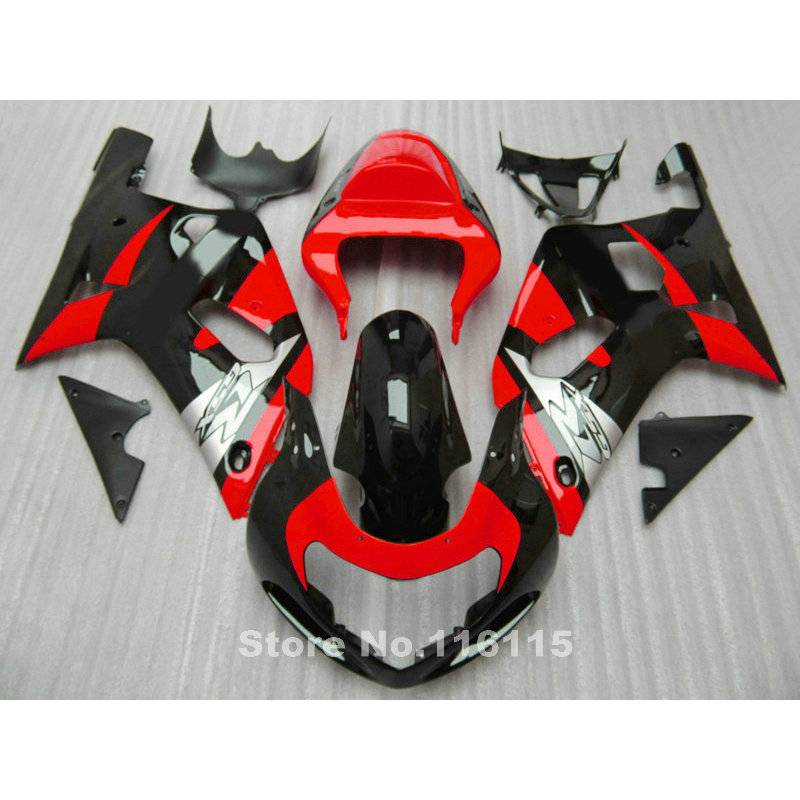Fairing kit for SUZUKI GSXR 600 GSXR 750 K1 2001 2002 2003 fairings GSXR600 750 01 02 03 black red motorcycle parts TY58 lowest price fairing kit for suzuki gsxr 600 750 k4 2004 2005 blue black fairings set gsxr600 gsxr750 04 05 eg12