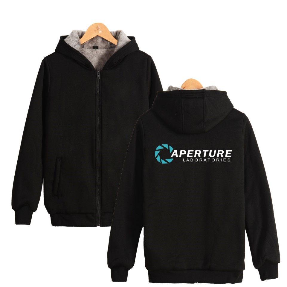 Two Step Aperture Science Games Hoodies With Zipper Mens Clothing Print Aperture Laboratories Thick Warm Hooded Sweatshirt