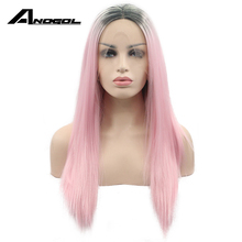 Anogol Glueless Ombre Pink Lace Front Wig Synthetic High Temprature Heat Resistant Fiber Long Straight Women Natural Hair Wigs