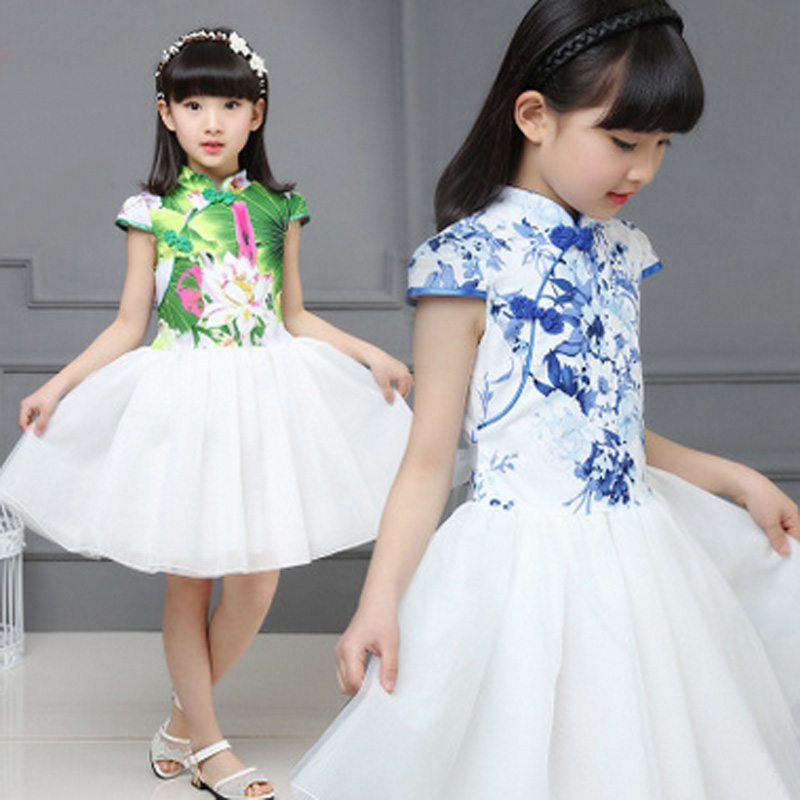 цены Chinese Style Girls Summer Evening Party Dresses Princess Dress Girl Floral Print Clothes Kids Net Yarn Dress For Gills 6-12Year