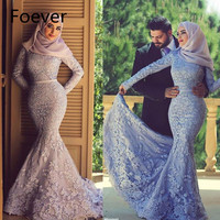Muslim Hijab Evening Dresses Long Sleeve Lace Mermaid Elegant Purple Evening Gown Saudi Arabic Prom Dress Abaya Dresses